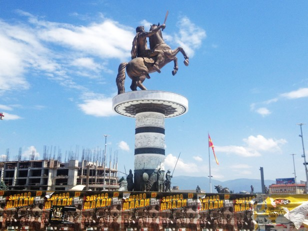 Statue of Alexander the Great in Macedonia Square, amidst much other incomplete construction. The statue lights up garishly at night.