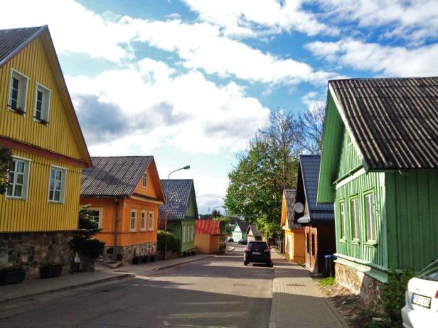 Traditional brightly-coloured Karaim houses.