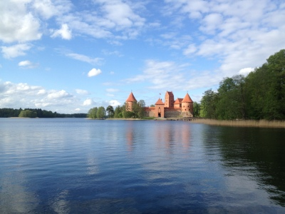 Trakai Island Castle from the banks of Lake Galve