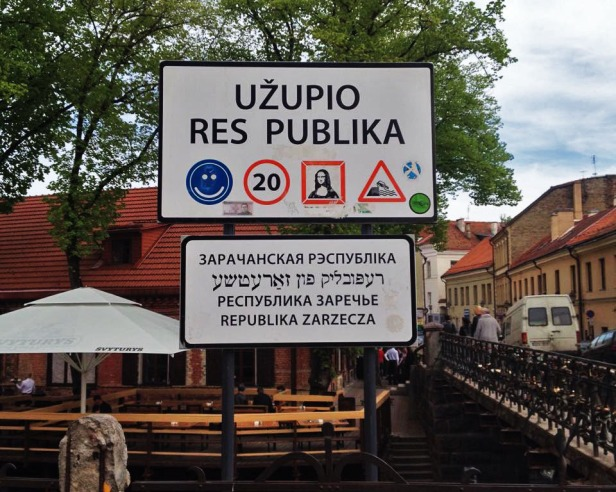 This sign greets you upon arrival in Užupis.