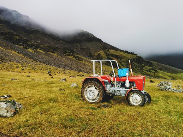 I found this tractor two-thirds of the way up Mt. Esja. How it got up there is still beyond me.