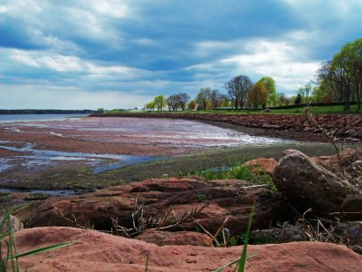 Red sand beaches along Prince Edward Island.