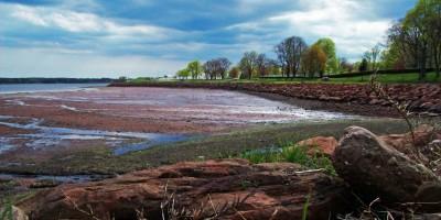 Red sand beaches along Prince Edward Island.